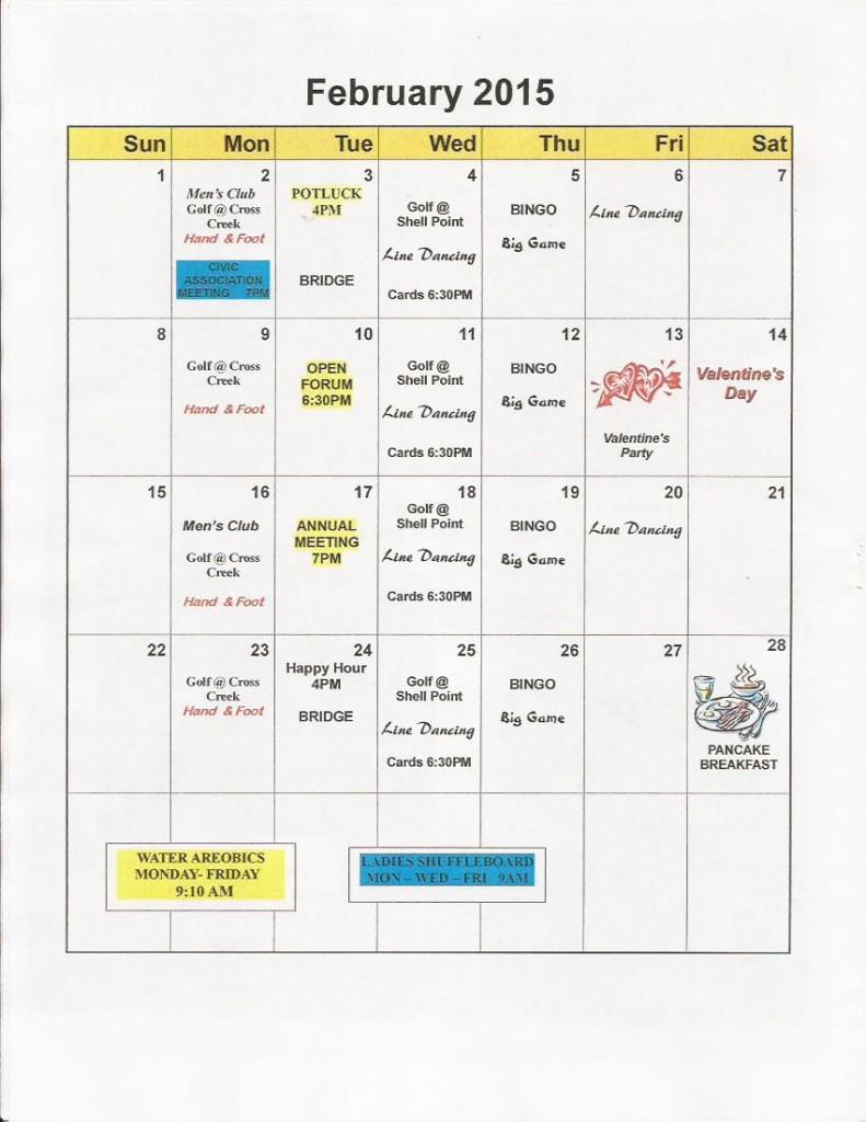 feb 2015 Calendar